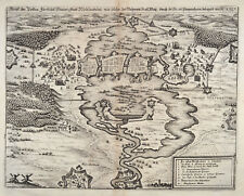 Wolfenbüttel-original Merian Theatrum Europaeum 1643 grabado plano de planta