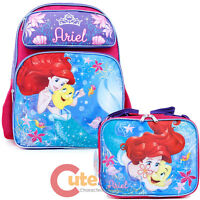 "Disney Little Mermaid Ariel Large School Backpack 16"" Bookbag Lunch Bag 2pc Set"