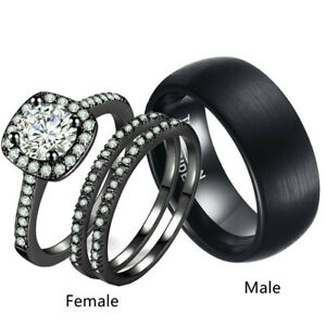 Couple Wedding Rings 18KGP Womens Rings Sets&Mens Tungsten steel Promise Bands