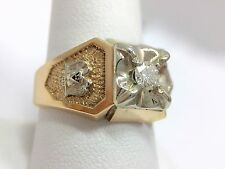 1/4ct Diamond Masonic 32 Degree Shriner Men's Band Ring 10 1/4 10k Tutone Gold