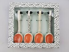 "New Anthropologie Spotted Dog Painted Porcelain Ceramic 5"" Coffee Teaspoons"