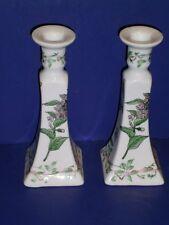 Winterthur Candle Holders Porcelain ceramic Botanical Butterfly Garden 1995