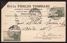 STORIA POSTALE Regno 1927 Cartolina da Spaccaforno per Catania (FILP)