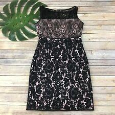 Karen Millen Black Lace Dress Size 8 Illusion Neckline Sleeveless Pink Lining