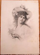 Menu: French 1902, Woman in Hat - Berchem - 'Croute de Foie Gras de Strasbourg'