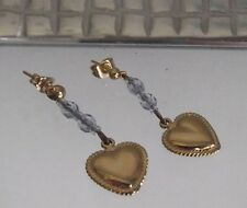 HANDCRAFTED GOLD HEART and CRYSTAL EARRINGS, PIERCED, LONG LENGTH, NEW,AUSTRALIA