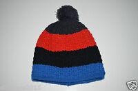 hombre invierno Gorro de punto azul rojo negro con borlas una talla NUEVO