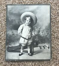 Vintage Golf Photo Early 1900s Girl With Clubs Raised Relief Rare