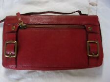 Dark red leather Fossil zip around hand bag/wallet/purse.