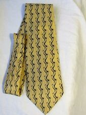 "ZYLOS George Machado SILK TIE -Soft Yellow Black Geometric  62"" EXEC SHARP  EUC"