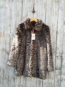 SHRIMPS Helga Leopard Faux Fur Coat Size: 8 / Was Selling At Yoox & Farfetch