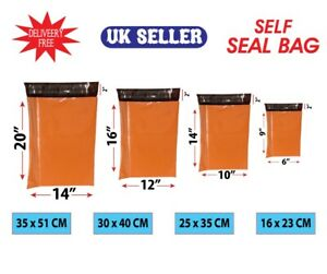 Strong Orange Mailing Bags Plastic Self Seal Coloured Postage Postal Bags Cheap