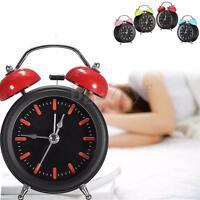 Vintage Retro Twin Bell Alarm Clock Loud Silent Battery Bedside Room Night Light