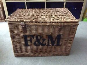 Fortnum and Mason F&M Hamper Picnic Basket Large With Handle and Leather Straps