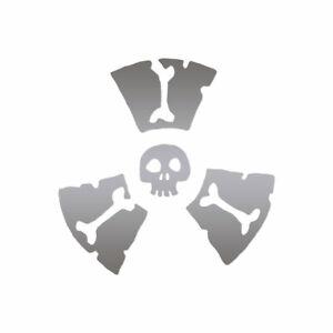Radioactive Skull Symbols - Decal Sticker - Multiple Color & Sizes - ebn557