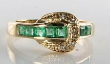 9K 9CT GOLD EMERALD DIAMOND ART DECO INS BUCKLE BELT ETERNITY RING FREE RESIZE