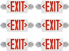6pack Red All Led Exit Sign Emergency Light Square Head Combo Ul924 Combor2