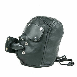 Men Black Leather Bondage Hood Mask Detachable Gag And Eye Piece