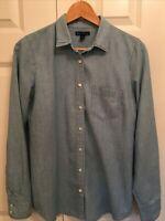 J. Crew Mercantile Women's S Button Front Shirt Light Blue Chambray LS EUC!