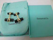 Tiffany & Co. 18k Yellow Gold and Onyx Signature Cufflinks