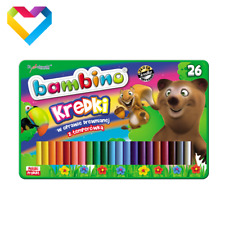 BAMBINO WOODEN CRAYONS IN METAL BOX WITH SHARPENER 26 COLOURS FOR KIDS