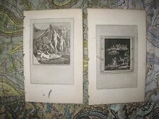2 ANTIQUE 1790 ROMAN EMPIRE COPPERPLATE PRINT SURREAL NUDE FIGURES DWARF SATYR N