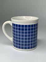 vtg 80s 90s MADE IN JAPAN Blue Grid vaporwave modern MUG / CUP