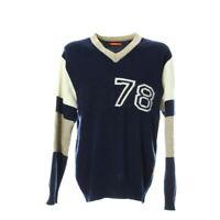 Vintage Strickpullover Herren Gr. XL Langarm Sweater Wollpullover V-Ausschnitt