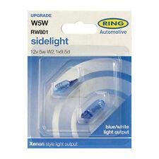 2 x Ring RW801 W5W Car Sidelight Side Light Bulb 501 12v 5w Xenon Style Ice Blue