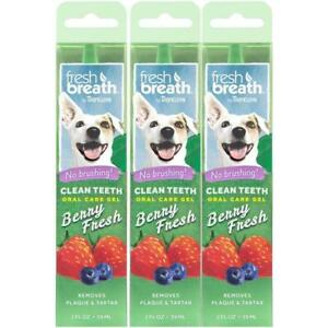 3 x TropiClean Fresh Breath Oral Care Gel for Dogs Berry Flavouring No Brushing