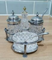 Vintage Silver Plated Hall Marked Walker and Hall Complete Cruet Set