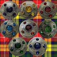 Celtic Kilt Fly Plaid Brooch Antique Finish Various Stones Scottish Pin Brooches
