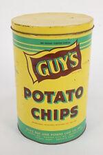 Guy's Potato Chips Empty Tall Tin Yellow Green Boonville, Kansas City, Topeka