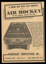 1950 Woodcraft Shufflevision Air Hockey coin-op arcade game machine trade ad