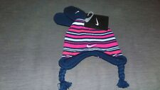Nike Infant Knitted Striped Pigtail Beanie Hat & Mitts 12-24m Pink Mix BNWT