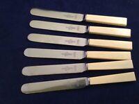 "Victorian 9 1/2"" Dinner Knives Faux Bone Maleham & Yeomans Cutlers Sheffield VR"