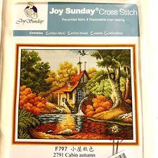 "New ListingJoy Sunday Counted Cross Stitch Kit 2791 ""Cabin Autumn"" Free Shipping"