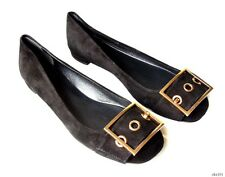 new GUCCI Kesha black suede LOGO BUCKLE flats shoes 36.5 6.5 - very comfortable