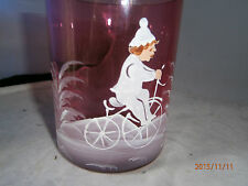 Vintage 1950 Cranberry Mary Gregory Tumbler