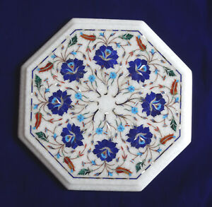 "12"" Marble End Tables Lapis Lazuli Lazysusan Marquetry Inlaid Mosaic Arts Decor"
