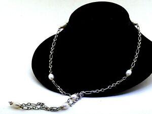 "David Yurman 18K/925 Sterling silver Bijoux pearl 36"" long chain necklace"