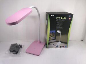 Pink LED Desk Lamp 3 Level Touch Dimmer, Built-in USB Port, Charging Adjustable