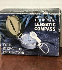 Lensatic Compass LIQUID FILLED Brass Engineer. Box Has Shelf Wear