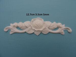 Decorative rose on scrolls applique onlay resin furniture moulding R104