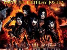 """BLACK VEIL BRIDES  PERSONALIZED 10 x 7.5"""" ICING CAKE TOPPER"""