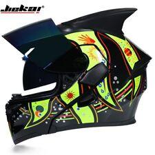 JIEKAI Full Motorcycle Helmets Rider DOT ECE Flip Up Racing Off Road Horn Helmet