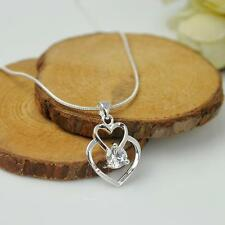 Silver Plated Fashion Women  Double Heart Pendant Necklace Chain Jewelry T