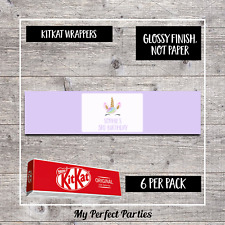 6 Personalised Unicorn Birthday Party, Kit Kat Wrappers - design 4