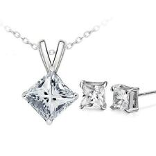 Factory wholesale quality zircon 18K White Gold Necklace earrings Set Women Gift
