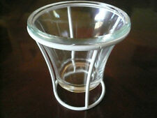Wrought Iron Votive Candle Holder Lantern Lamp Light W Glass Shade & White Stand